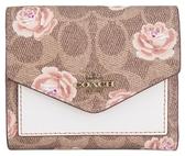 COACH 時尚女士皮革帆布經典標誌玫瑰印花小號錢包