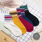 現貨✶正韓直送【K0286】韓國襪子 復古圖騰中筒襪 韓妞必備 百搭款 素色襪 免運 阿華有事嗎