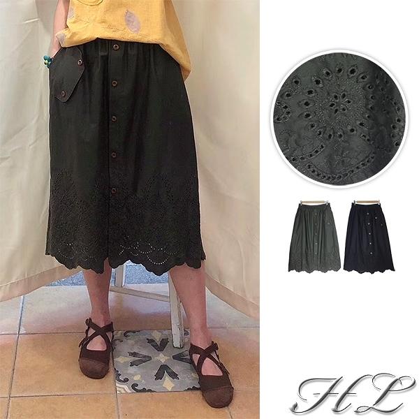 .GAG GLE超大尺碼.【20060004】鏤空布蕾絲釦飾伸縮腰長裙 2色
