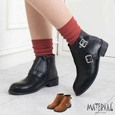 短靴 側裝飾扣環低跟短靴 MA女鞋 T2714