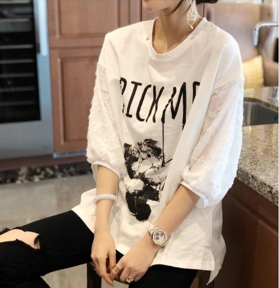 大碼衣著上衣T恤韓系寬鬆休閒衫L-2XL歐貨潮白色短袖寬鬆大碼打底小衫MC019A.5820胖胖美依