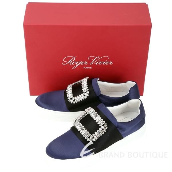 Roger Vivier Sneaky Viv 水晶方框撞色絲緞便鞋(黑x藍) 1830395-61