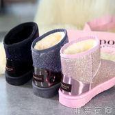 新款冬季亮片平底學生雪地靴加厚短筒靴棉鞋加絨防滑面包女鞋  潮流衣舍