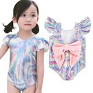 兒童七彩美人魚泳裝 女童 美人魚連身泳衣 蝴蝶結泳裝 美人魚泳衣 米荻創意精品館