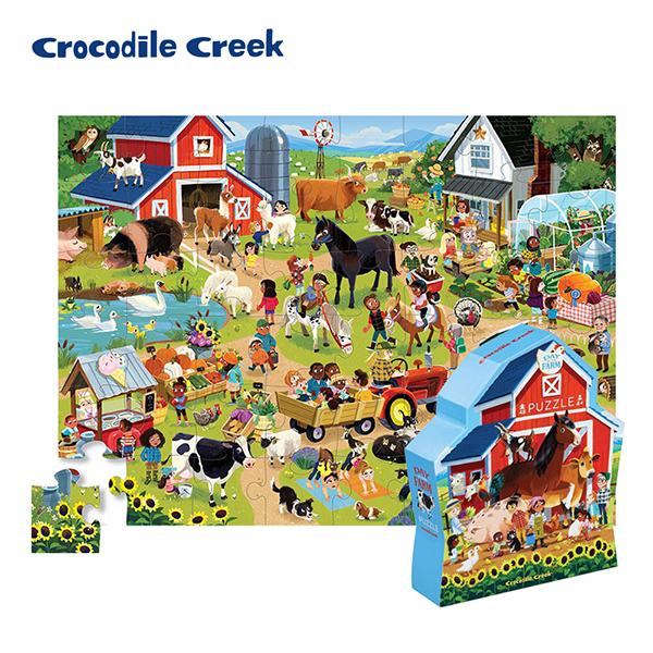 《美國Crocodile Creek》博物館造型盒學習拼圖-生態農場(48片)