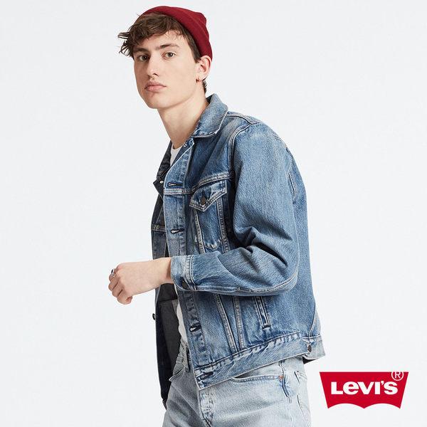 Levis 男款 牛仔外套 / 復古寬袖落肩版型 / 不規則水洗