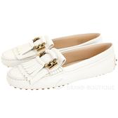TOD'S Gommino 雙T金環流蘇牛皮豆豆鞋(白色) 1920042-20