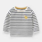 男Baby男童白色藍條紋挖土機長袖T恤純棉T恤春秋休閒上衣歐美品質