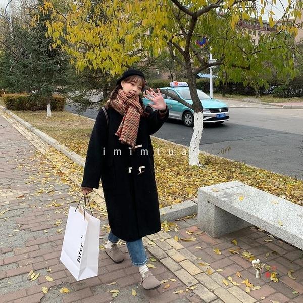 牛角釦大衣 韓版新2020中長款寬鬆大衣牛角釦夾棉洋氣外套女T