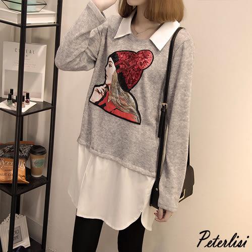 新款秋裝 休閑大碼針織拼雪紡亮片刺繡中長款上衣- 灰色  L4740D 彼得麗絲