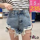 牛仔短褲-Tirlo-好看混色水洗破損牛...