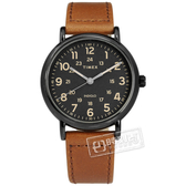 TIMEX 天美時 / TXTW2T30500 / Weekender系列 INDIGLO專利冷光照明 24小時顯示 真皮手錶 黑x咖啡 40mm