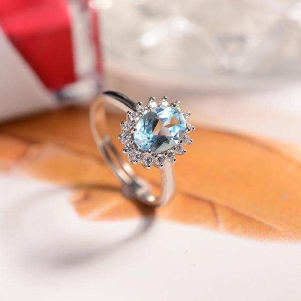 天然藍水晶托帕石戒指 925純銀鑲嵌寶石指環開口民族風女款銀飾品
