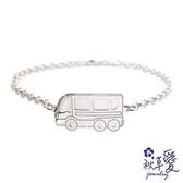 《 SilverFly銀火蟲銀飾 》純銀彌月刻字手鍊「交通寶寶系列」小公車-Ailsa秋草愛