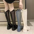 網紗靴 網靴子女夏季新款網紗長靴鏤空v口羅馬涼鞋高筒涼靴馬丁靴 生活主義
