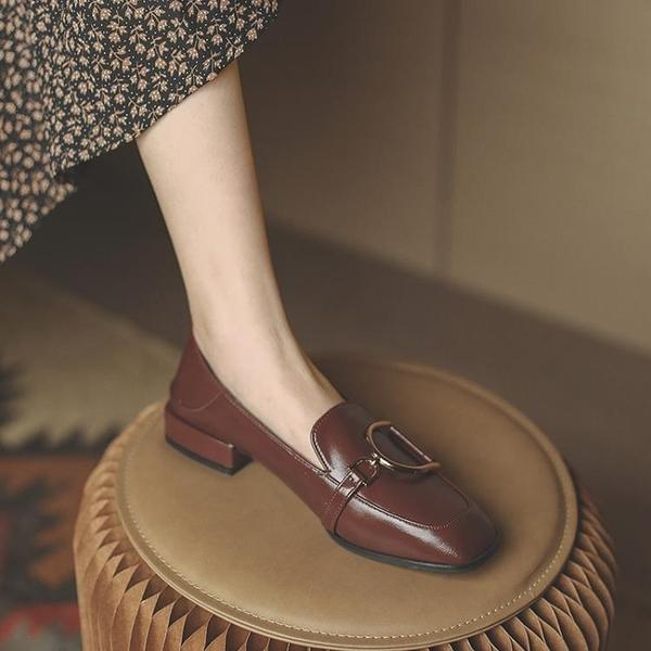 牛津鞋/紳士鞋 真皮復古英倫風小皮鞋女法式平底單鞋女鞋2021新款春秋季樂福鞋子