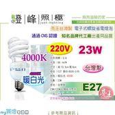 【亮王 製】燈泡E27 .23W 220V 4000K 暖白光電子式螺旋省電燈泡 製整箱
