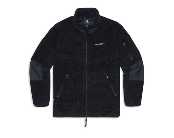 CONVERSE-SHERPA JACKET CONVERSE BLACK 男款黑色保暖外套-NO.10018039-A01