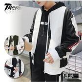 『潮段班』【HJ000A01】秋季流行新款線條拚色造型拉鍊薄外套/夾克