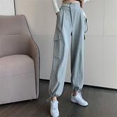 休閒運動長褲女春秋季薄款寬鬆高腰顯瘦束腳哈倫褲百搭灰色工裝褲 喵小姐