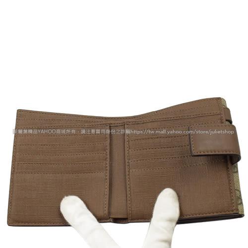 茱麗葉精品 二手精品【9.9成新】GUCCI 309755 經典雙G防水PVC皮帶飾扣式短夾.駝