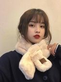 艾佳微交叉圍巾女冬季日系小清新貼布字母保暖毛絨圍脖百搭韓版潮 貝芙莉