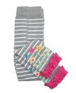 【美國 RuffleButts】內搭褲/褲襪 - 灰色條紋荷葉邊  RLKGYXX-WSFL