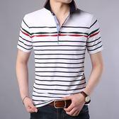 短袖POLO衫2018夏季新款休閒條紋翻領男士短袖T恤《印象精品》t1028