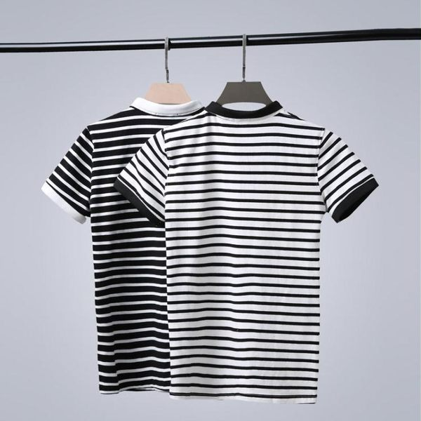 夏季韓版修身半袖青年T恤男裝POLO衫男 撞色翻領條紋短袖POLO衫潮  晴光小語