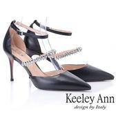 ★2019春夏★Keeley Ann耀眼新娘 鑽石腳背帶尖頭高跟鞋(黑色)-Ann系列