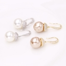 【ANGEL】豐沛果實珍珠簡約水鑽垂墜耳環(2色可選)