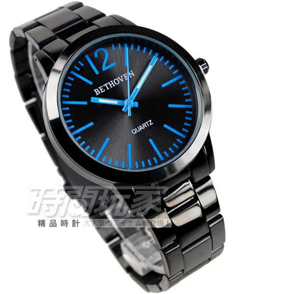 BETHOVEN 日本機芯 都會時尚 藍黑色 男錶/中性錶 造型錶 石英錶 2016藍黑