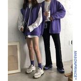 萬聖節快速出貨-秋季韓版ins紫毛衣男潮流寬松簡約百搭情侶裝上衣