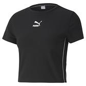 PUMA CLASSICS 女款小LOGO黑色短版短袖上衣-NO.59763101