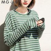韓版寬鬆圓領條紋打底衫長袖T恤
