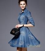 2020春季歐美高端氣質短袖A字修身大擺刺繡顯瘦牛仔洋裝女「時尚彩紅屋」