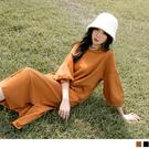 純色高含棉側開衩燈籠七分袖長洋裝 OB嚴...