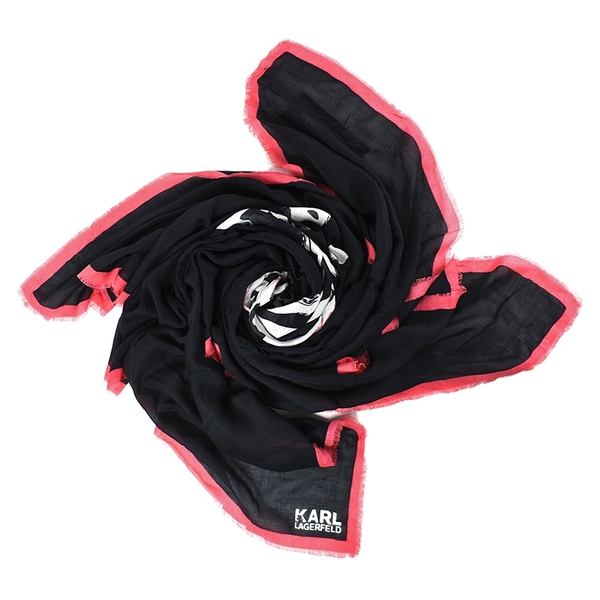 美國正品 KARL LAGERFELD 塗鴉墨鏡貓咪莫代爾棉方巾-黑/粉【現貨】
