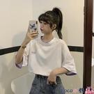 熱賣假兩件上衣 白色短袖T恤女夏季2021新款寬鬆韓版設計感小眾假兩件上衣服ins潮 coco