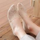 蕾絲襪子 襪子短襪女夏季薄款淺口蕾絲襪低幫防滑不掉跟冰絲隱形純棉底船襪-Ballet朵朵