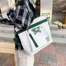 韓版原宿ulzzang斜背帆布包袋日系ins風單肩大容量女學生上課書包【果果新品】