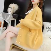 慵懶風毛衣開衫女中長款2019春裝新款韓版寬鬆很仙的針織外套秋季
