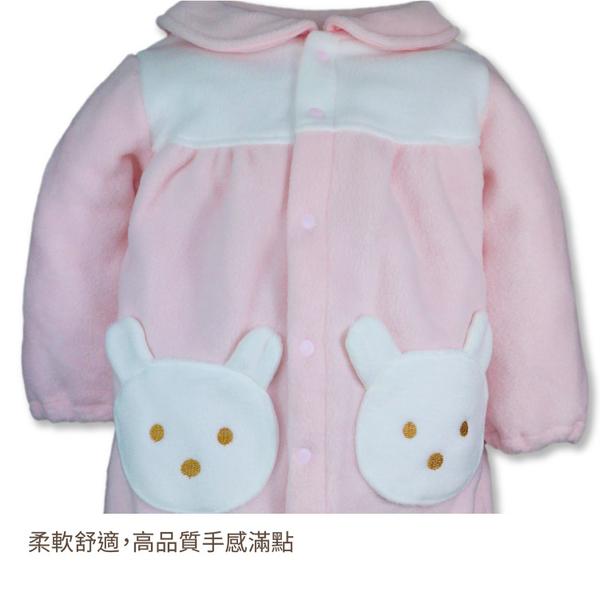 (年終特殺)日本冬季長袖寶寶服 搖粒絨刷毛 連身衣 保暖兔裝 包屁衣紗布衣(70/80) 【GD0103】
