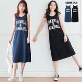 MIUSTAR 休閒舒適Franklin膠印背心棉質長洋裝(共2色)【NF3218RR】預購