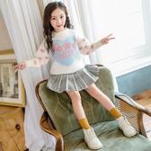 兒童套頭毛衣時尚女童針織衫洋氣童裝水貂絨中大童2020秋冬新款潮 蘿莉小腳丫