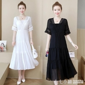 大碼洋裝~ 大碼女裝顯瘦減齡2020夏季新款胖mm寬鬆雪紡長裙遮肚子顯瘦洋裝
