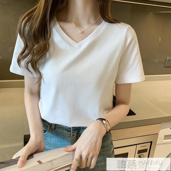 純色黑色t恤女短袖ins夏季新款寬鬆休閒短款白色女v領上衣女裝 萬聖節狂歡