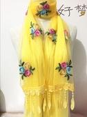 秋冬季正韓圍巾女百搭刺繡花春長版蕾絲雙層絲巾玫瑰花朵紗巾