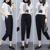 韓版二件式中大尺碼上衣褲子L-4XL夏季新款大碼女裝兩件套R05.7137胖胖唯依