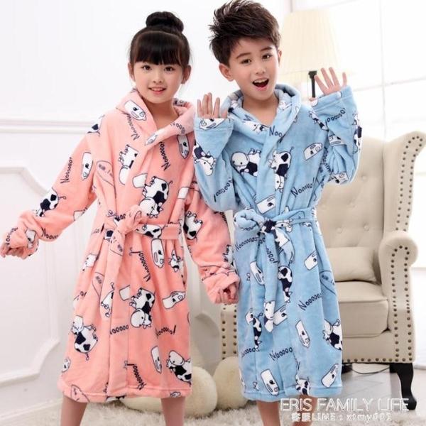 翠菲克秋天冬季法蘭絨兒童睡袍珊瑚加厚睡衣男童女童小孩寶寶浴袍 艾瑞斯